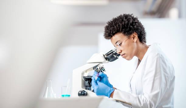 młody naukowiec pracujący w laboratorium - laboratorium zdjęcia i obrazy z banku zdjęć