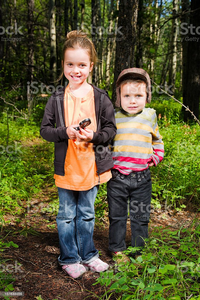 Young Scouts, Children in the Forest Portrait royalty-free stock photo