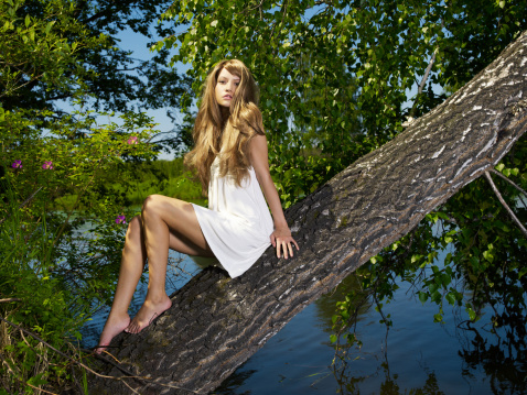 Young sensual lady on tree