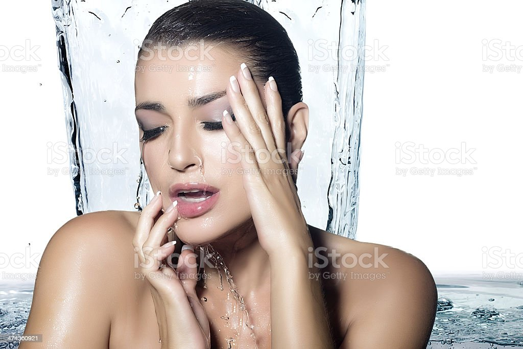 Young Sensuality Woman Showering. Spa Treatment stock photo