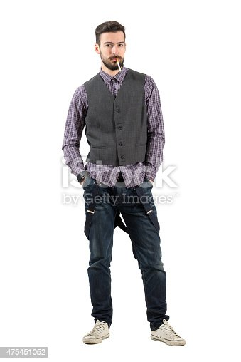 istock Young serious hipster looking at camera with cigarette 475451052