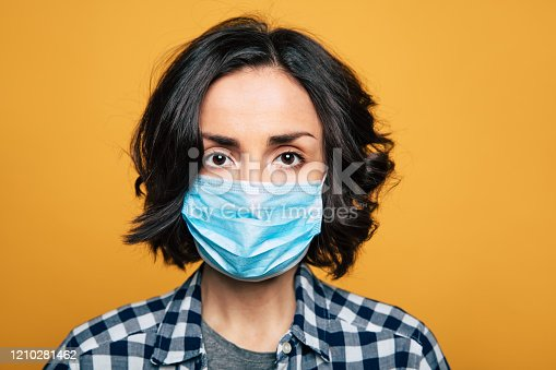 Woman wearing face mask because of Air pollution or virus epidemic.