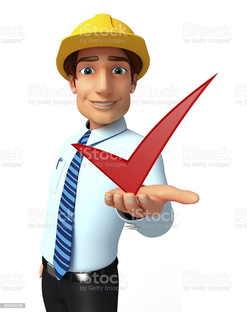 Young Service Man with right sign royalty-free stock photo