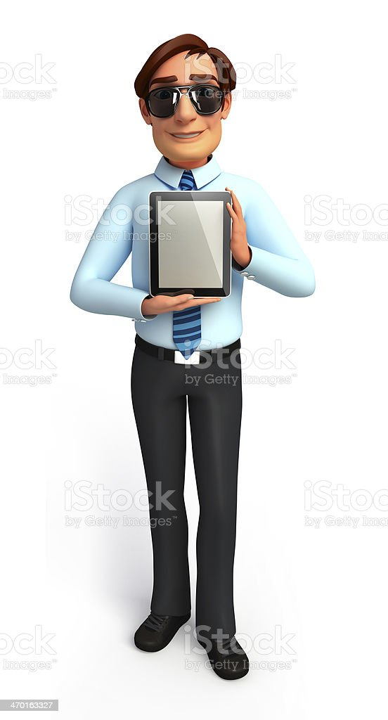 Young Service Man with ipad stock photo