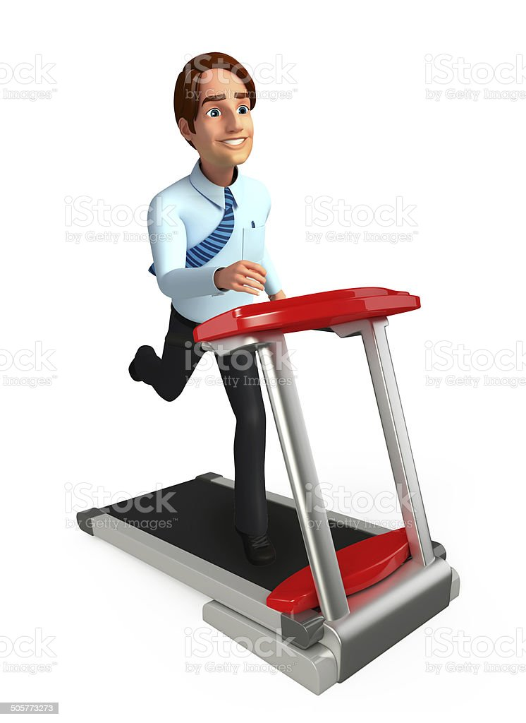 Young Service Man with walking machine royalty-free stock photo