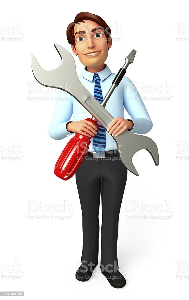 Young Service Man with wrench and screw driver stock photo