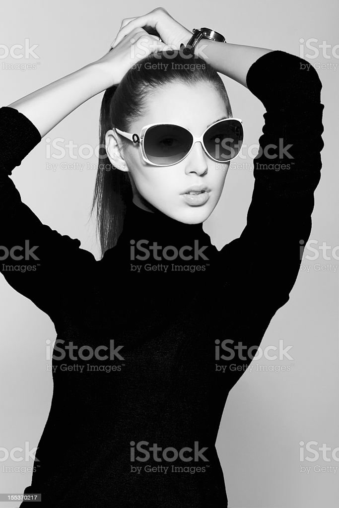 young sexual brunette women wearing sunglasses royalty-free stock photo