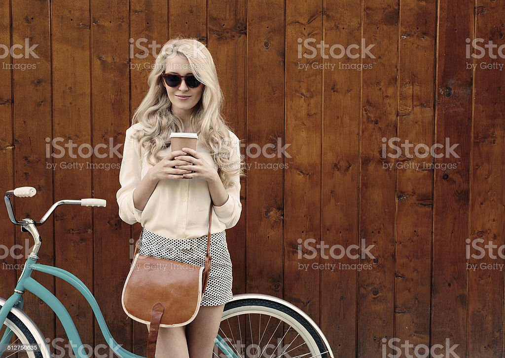 Young sexy blonde girl with long hair stock photo