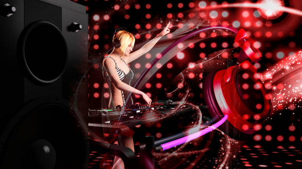 Young sexy blonde woman dj playing music - 3D rendering stock photo