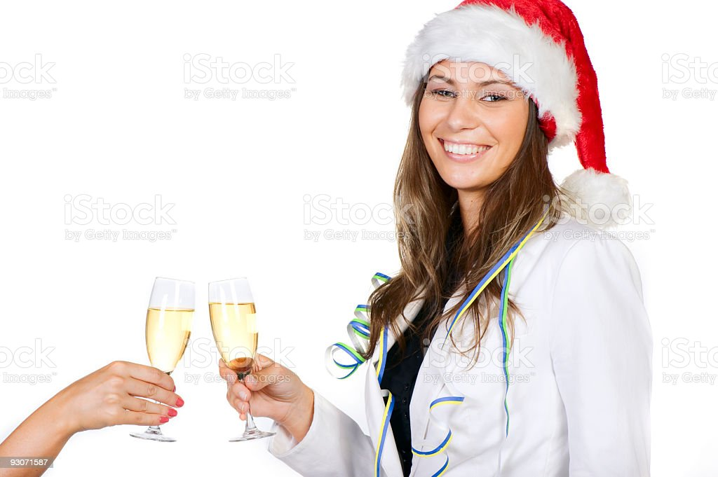 Young sexy girl in Santa Claus hat stock photo