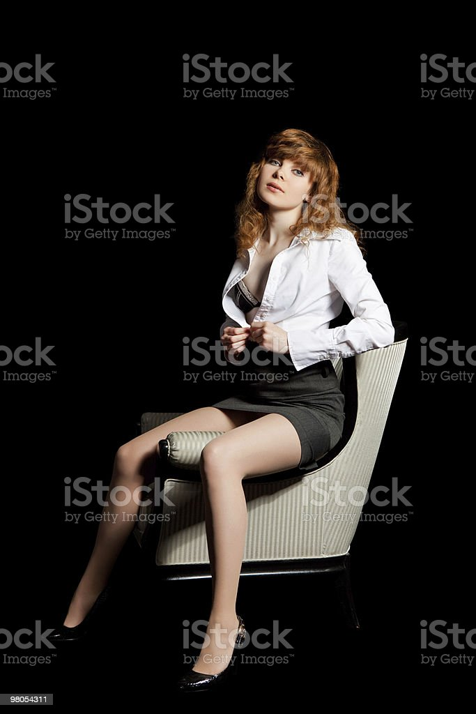 Young sexy girl on black background portrait royalty-free stock photo