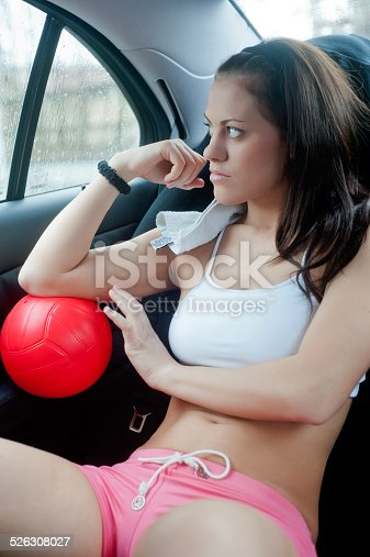 Car Audio Magazine >> Young Sexy Girl With A Ball On A Car Backseat Stock Photo ...
