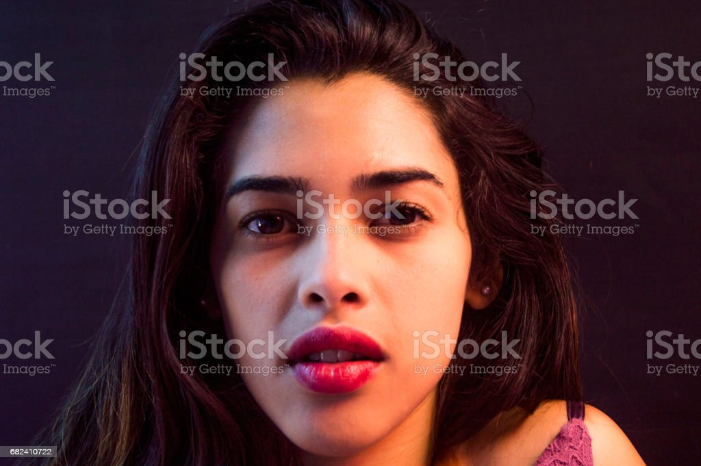 young sexy girl,front face red lips, black eyes,hair royalty-free stock photo