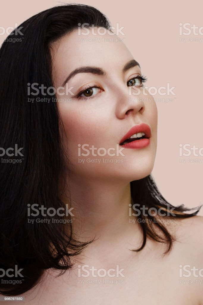 Young Sexy Lady With Clean Skin Red Lips And Black Straight