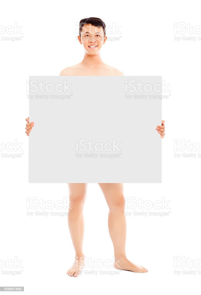 young sexy man holding a empty white board stock photo