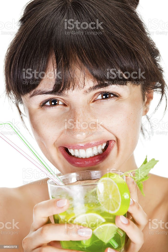 Young sexy woman with a cocktail royalty-free stock photo