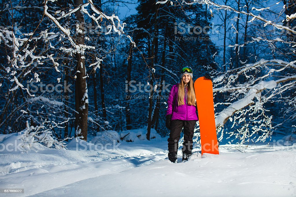 599a15d08d Young Sexy Woman With Her Snowboard In The Winter Forest Stock Photo ...