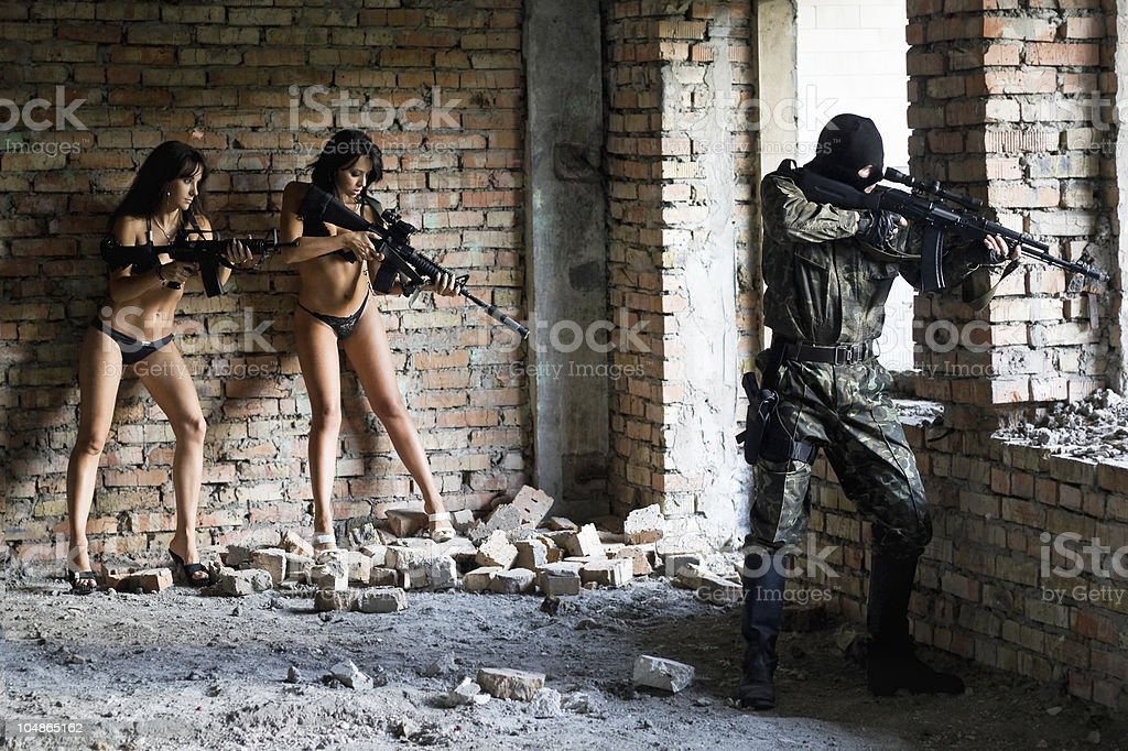 young sexy women and soldier royalty-free stock photo