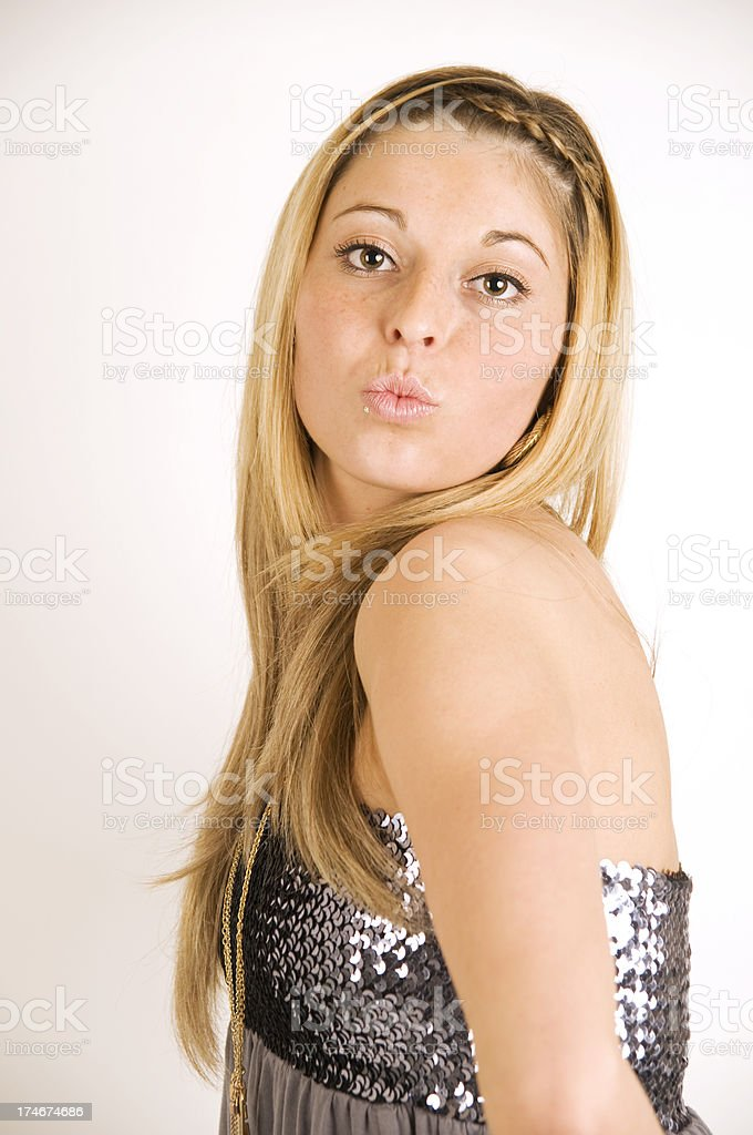 Young Sexy Women Make A Kiss Into The Camera Royalty Free Stock Photo