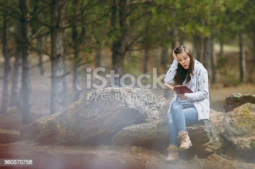 862602714istockphoto Young shocked beautiful woman sitting on stone studying reading book and clinging to head in city park or forest on green blurred background. Student learning, education. Lifestyle, leisure concept. 960570758