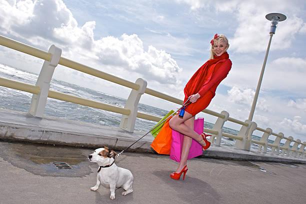 Jungen einkaufen Frau Taschen, weißer Hund, Meer im Hintergrund – Foto