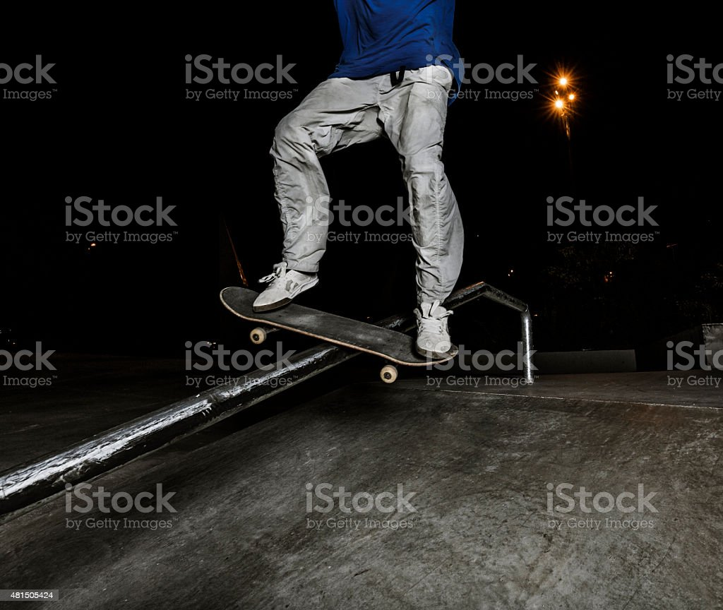 Young skateboarder in the city stock photo