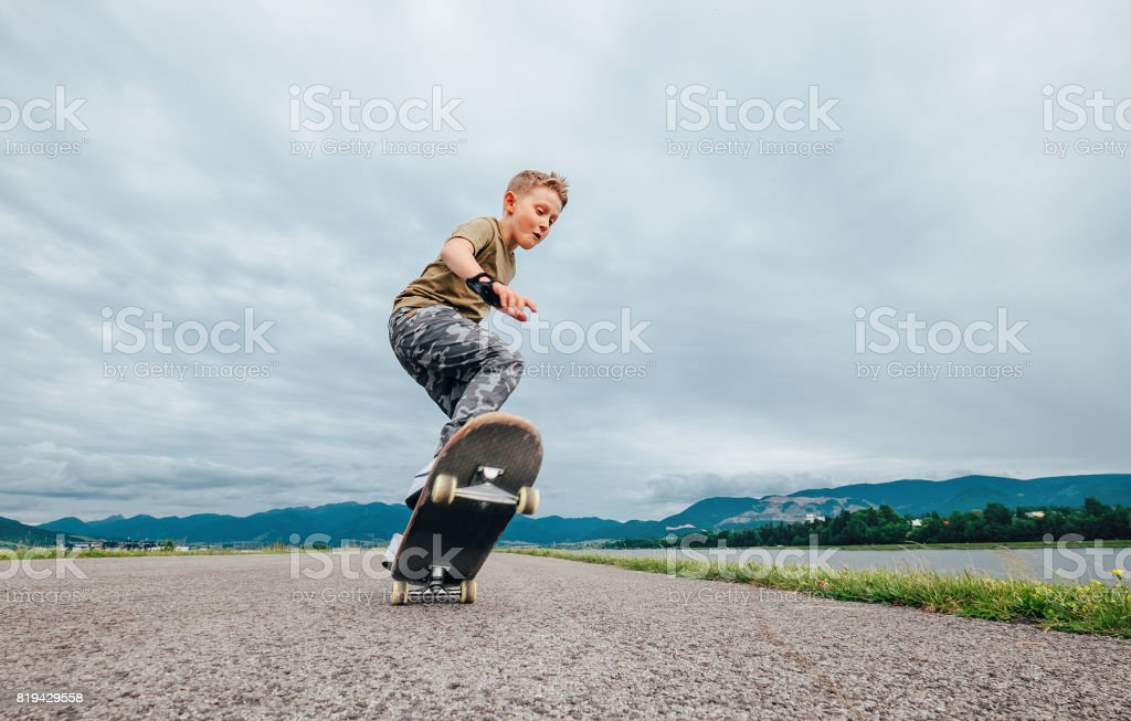Young skateboarder stock photo