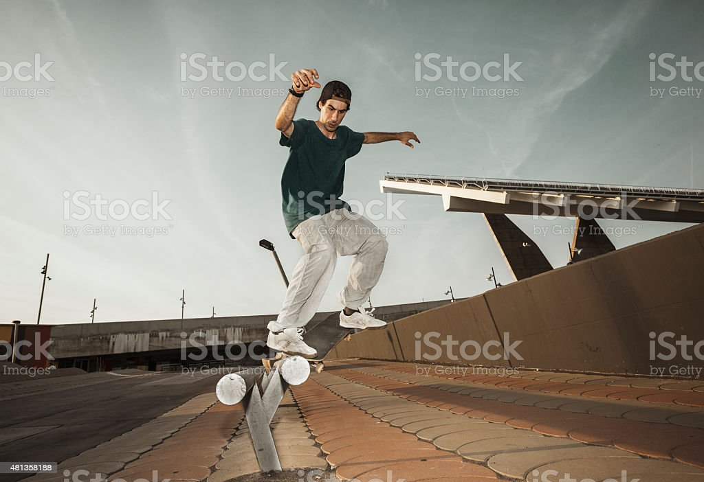 Young skateboarders in the city stock photo