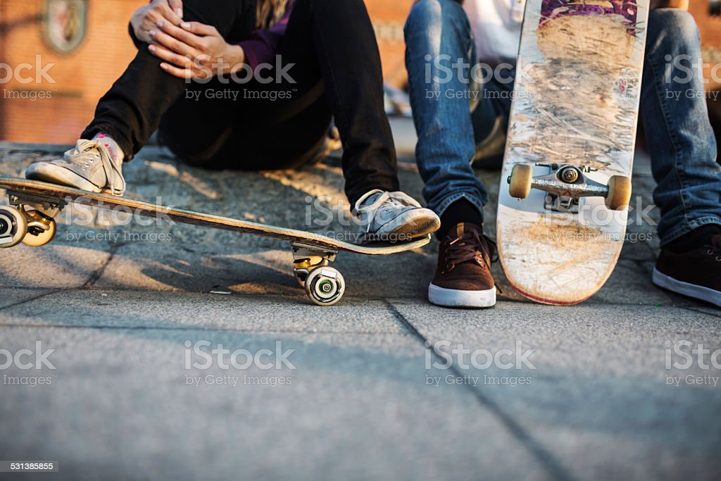 Young Skater Relaxing stock photo