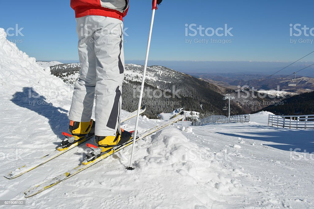 Young skier at the starting position stock photo