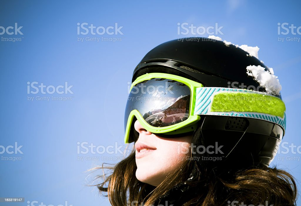 Young skier's face stock photo