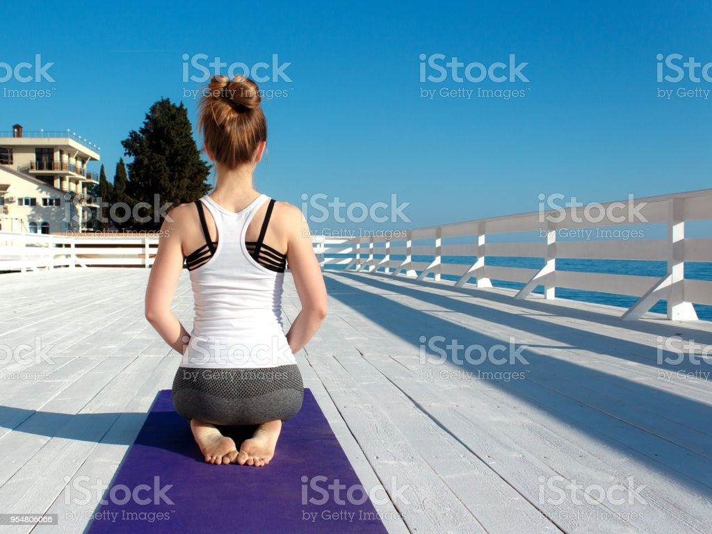 Young slim woman in tight sportswear practicing yoga outdoors at white wooden seafront. Back view eith copy space stock photo