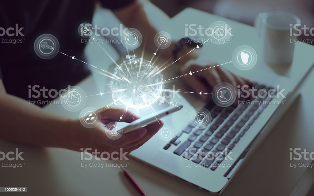 Young sman hand using smart phone stock photo