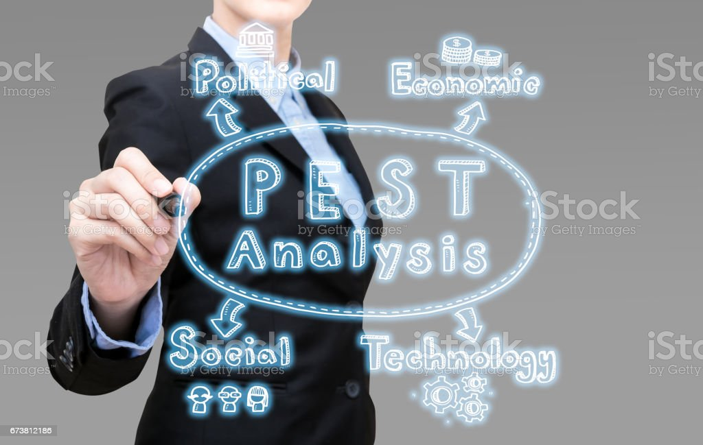 Young Smart business woman writing PEST analysis idea concept. stock photo