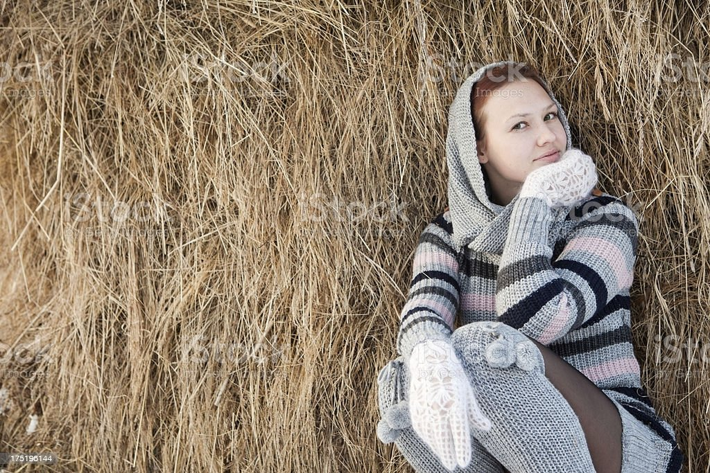 Young  smiled female in sweater royalty-free stock photo
