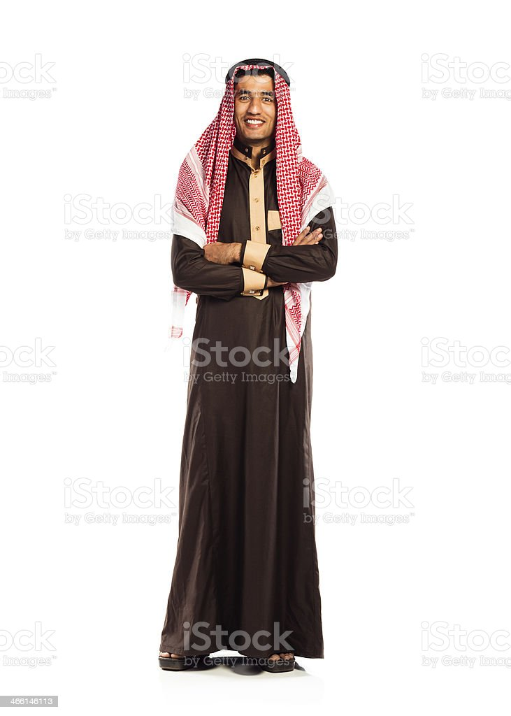 Young smiling arab isolated on white stock photo