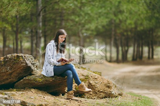 862602714istockphoto Young smiling beautiful woman in casual clothes sitting on stone studying reading book in big city park or forest on green blurred background. Student learning, education. Lifestyle, leisure concept. 956317198
