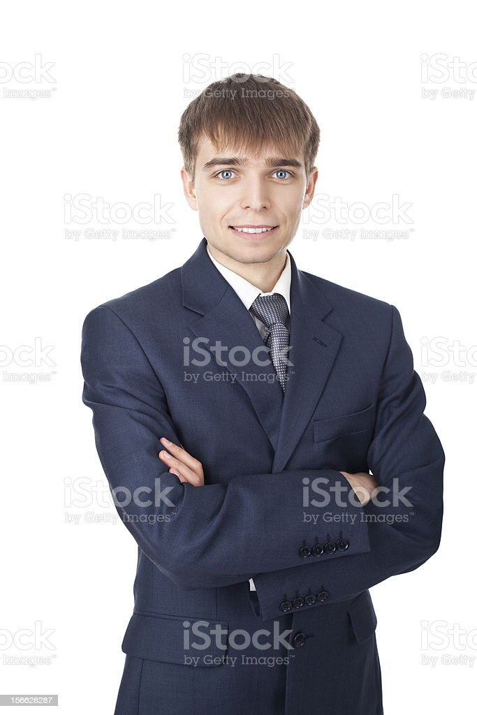 young smiling businessman isolated on white background royalty-free stock photo
