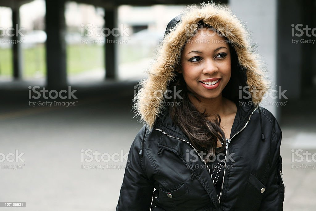 Young Smiling Girl In Outside Lighting. stock photo