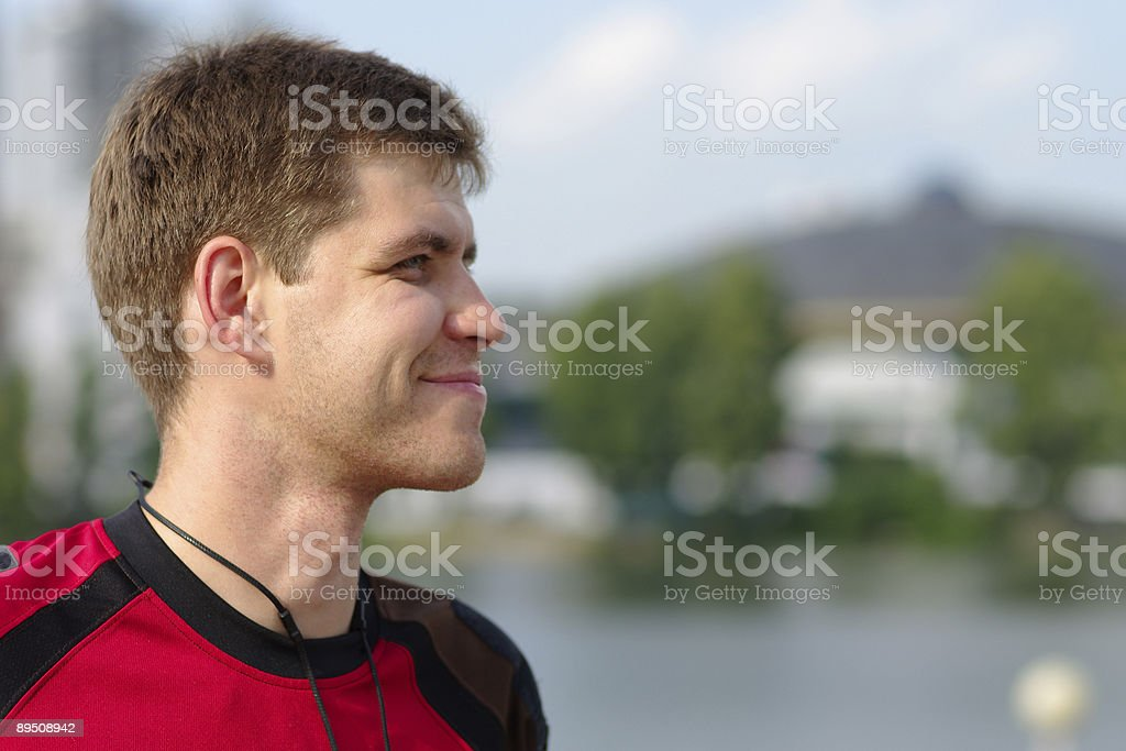 Young smiling sportsman royalty-free stock photo