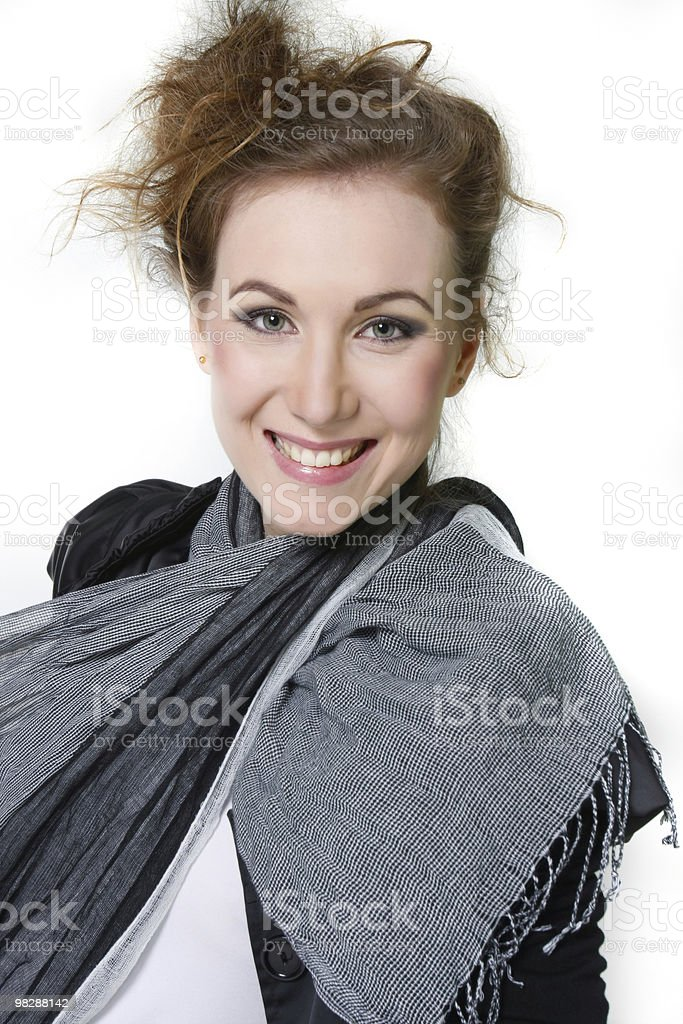 young smiling woman over white royalty-free stock photo