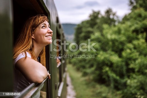 istock Young smiling woman standing out of the train window while travelling 1168484595