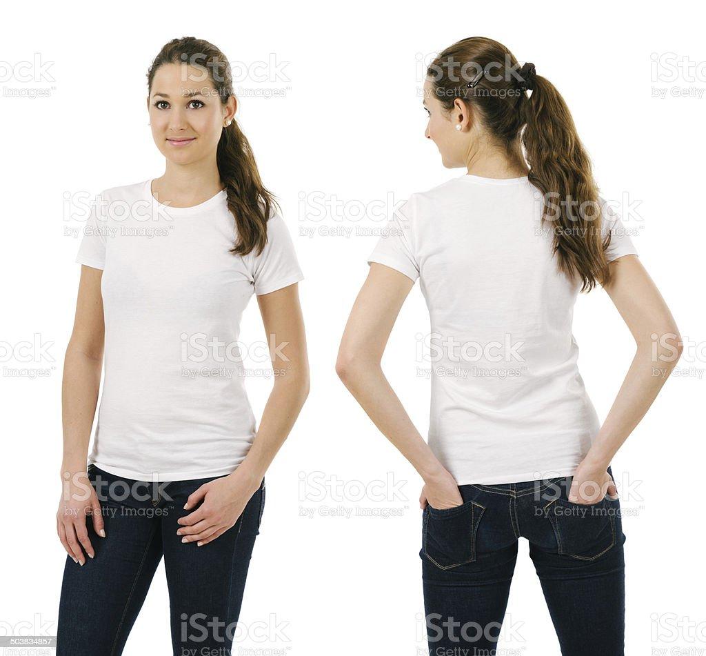 Young smiling woman wearing blank white shirt stock photo