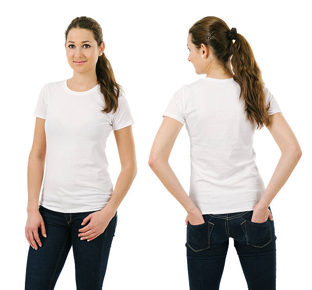 Young smiling woman wearing blank white shirt stock photo