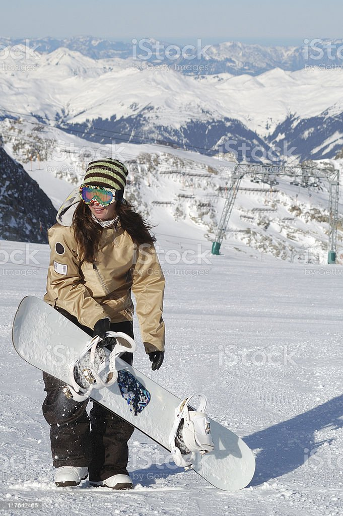 young snowboarder woman royalty-free stock photo