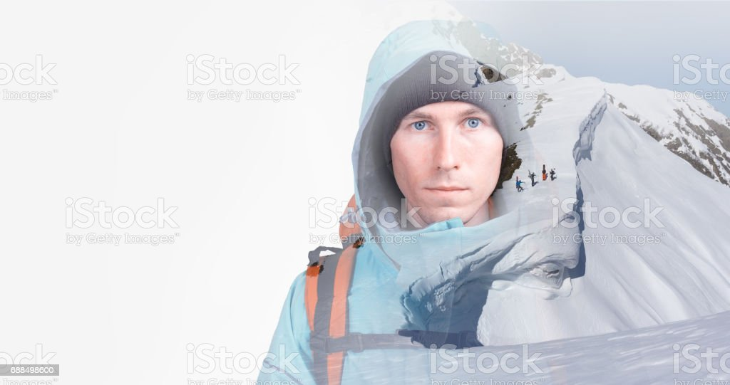 Young snowboarders in snowy winter mountains. Double exposure effect photography stock photo