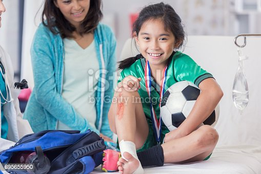 istock Young soccer champion with injuries 695655950