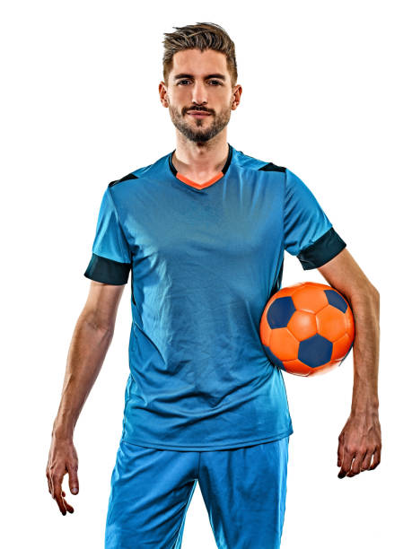 young soccer player man isolated white background standing stock photo