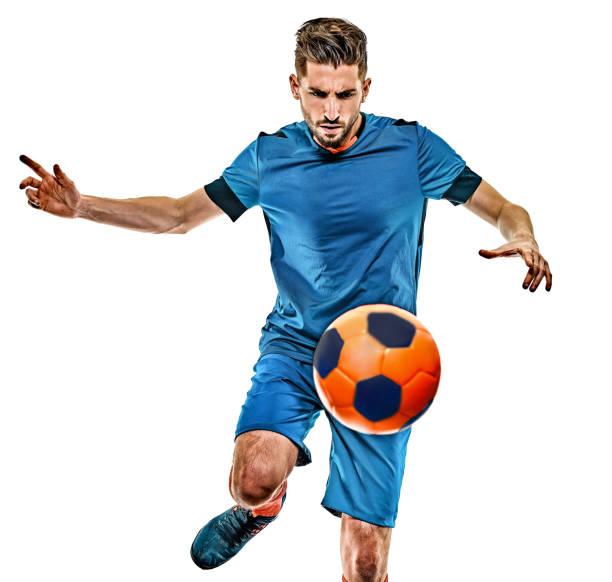 junge Fußballer Mann isoliert weißen Hintergrund stehend – Foto