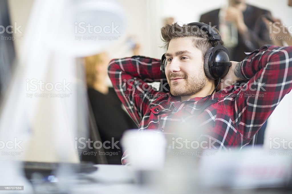 Young software engineer at a start up company stock photo